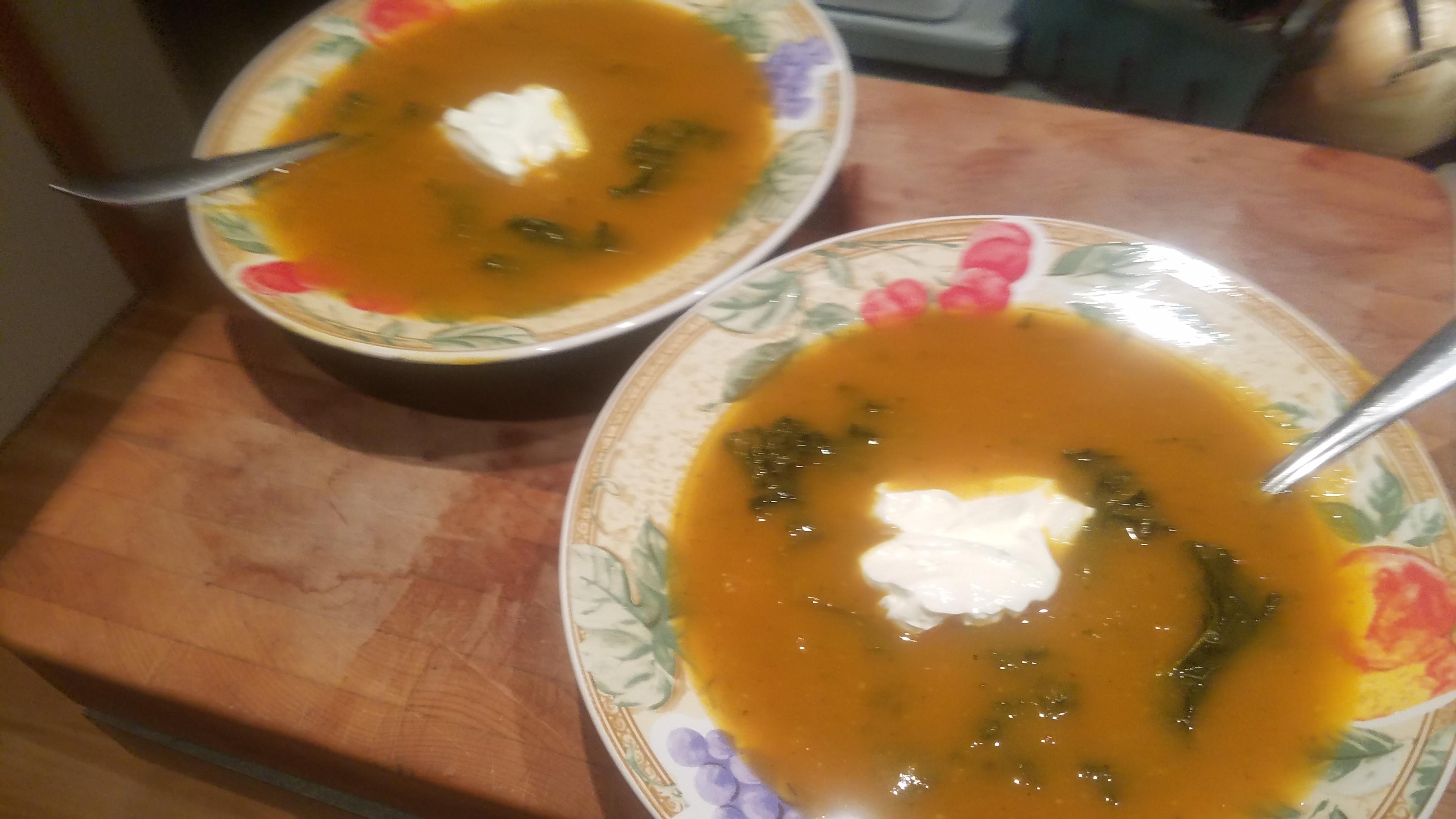 Roasted Butternut – Kale Soup