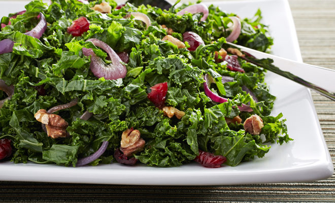 Cider Braised Kale with Cranberries and Walnuts