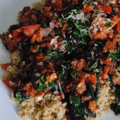 Quinoa with Swiss Chard, Garlic & Tomatoes